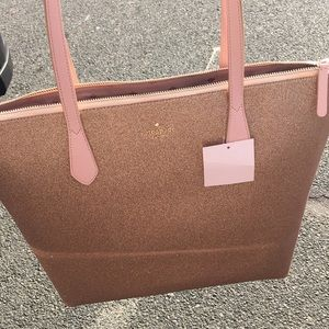 Kate Spade Large Glittery Rose Gold Purse